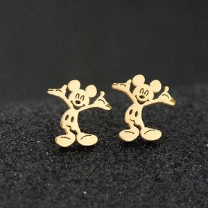 Gold stainless steel Mickey earrings studs new